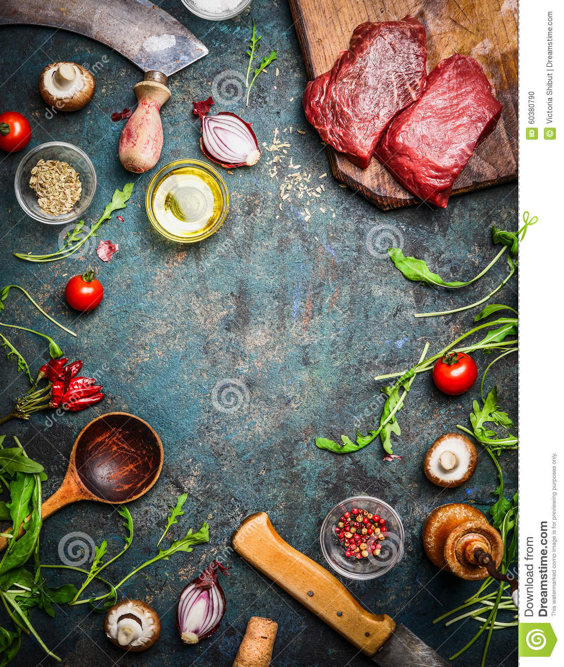 Fresh Beef Steak, Wooden Spoon, Knife And Aromatic Herbs, Spices And ...