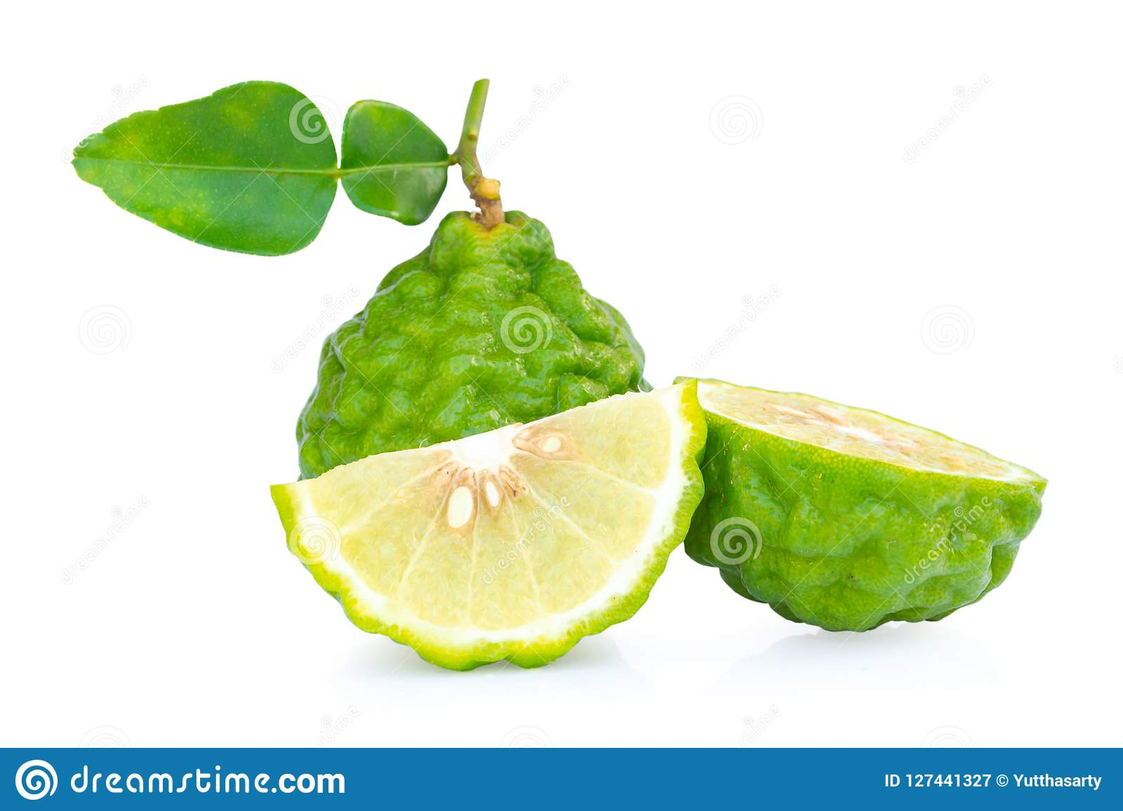 Fresh bergamot fruit with leaf slice isolated on white background,clipping path.