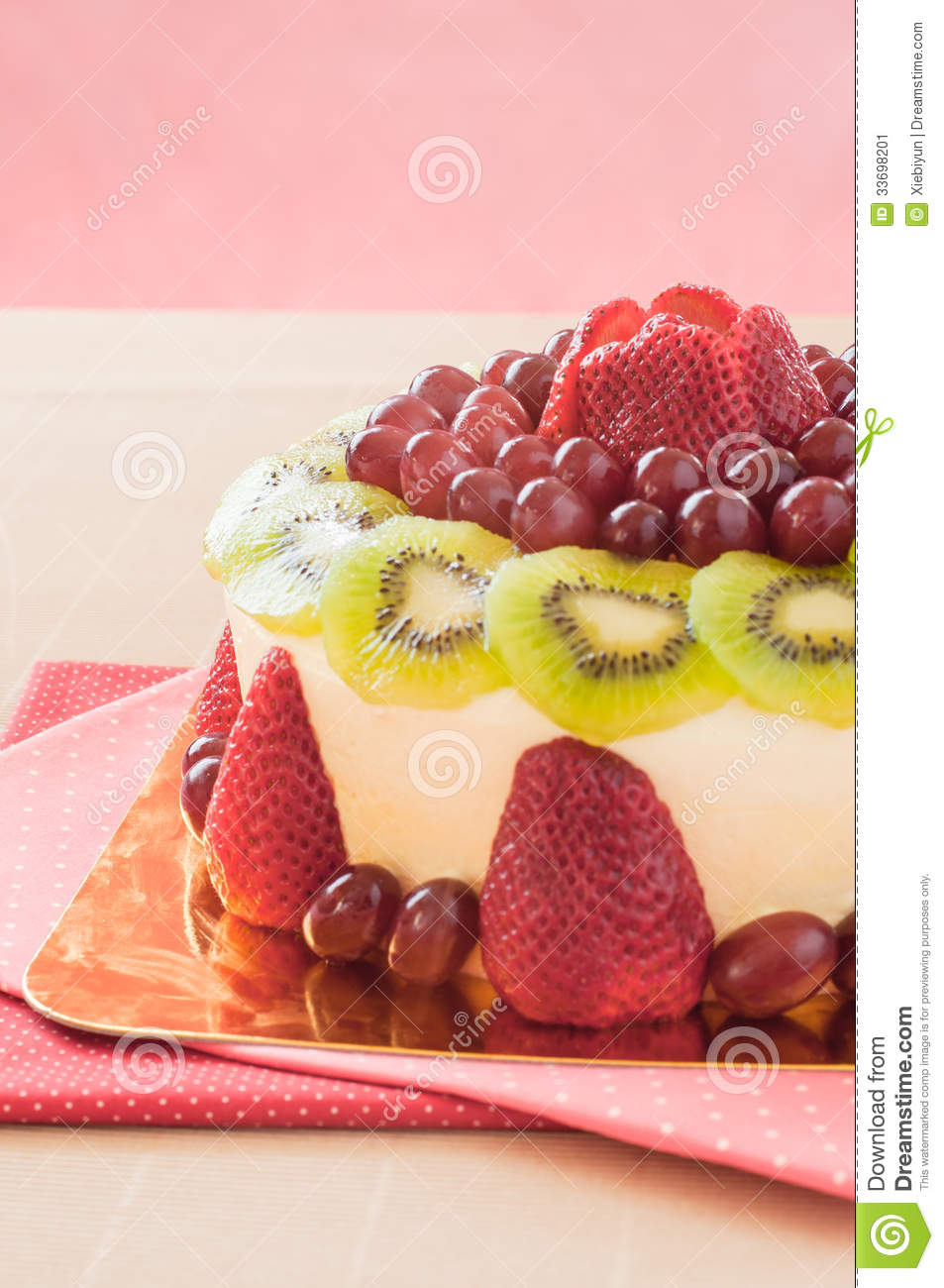 Fresh Berries Fruit Cake With Whipped Cream. Stock Image ...