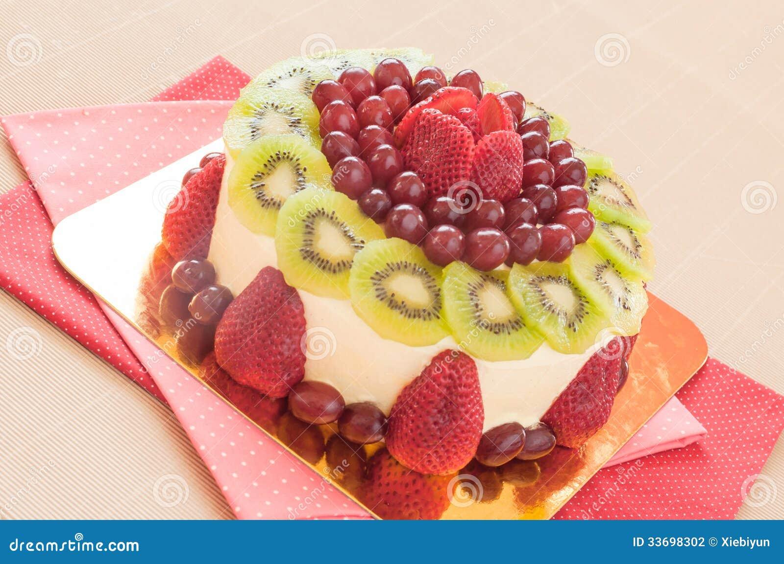 Fresh Berries Fruit Cake With Whipped Cream. Stock ...