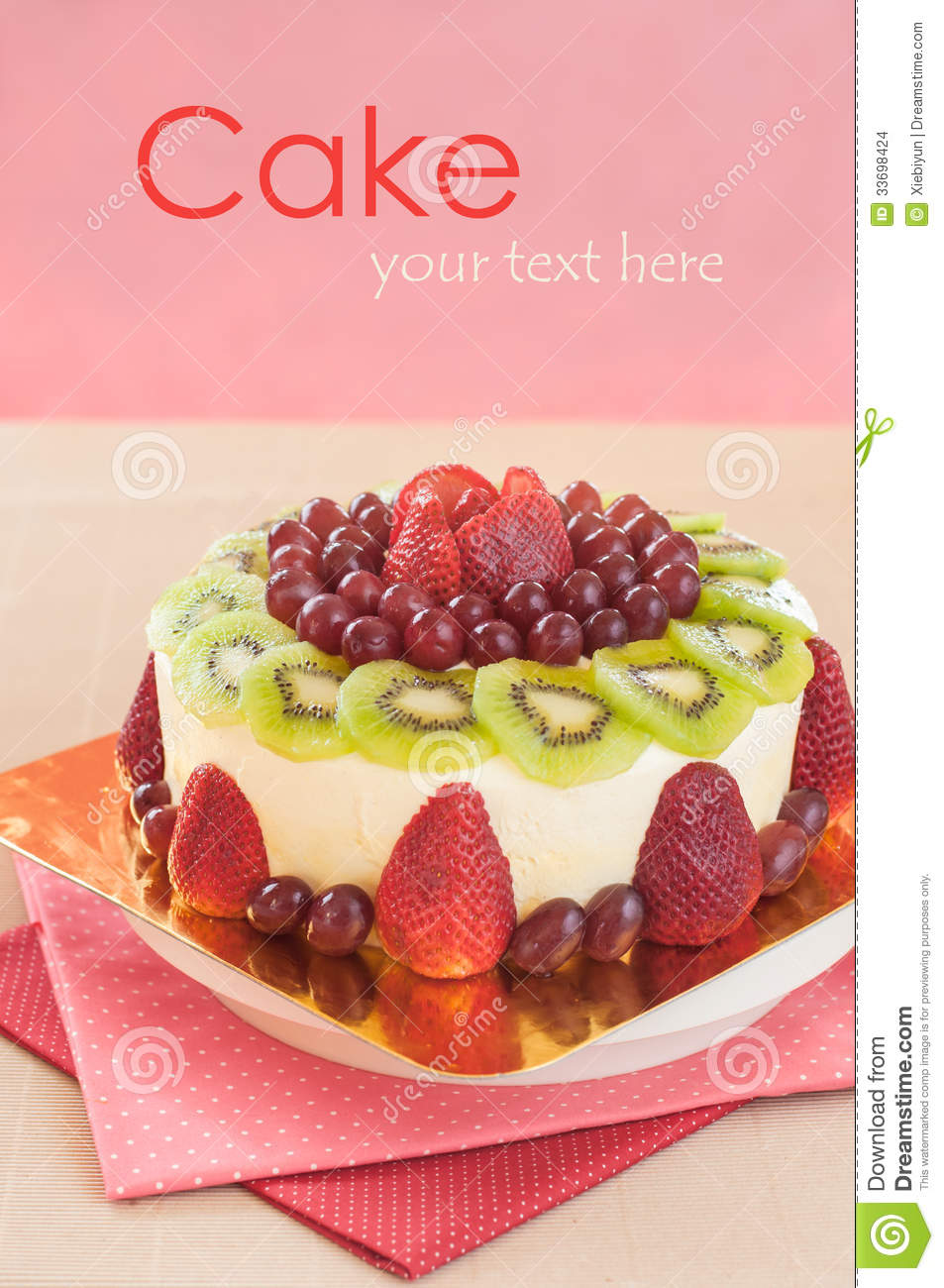 Fresh Cream Fruit Cake Stock Photo