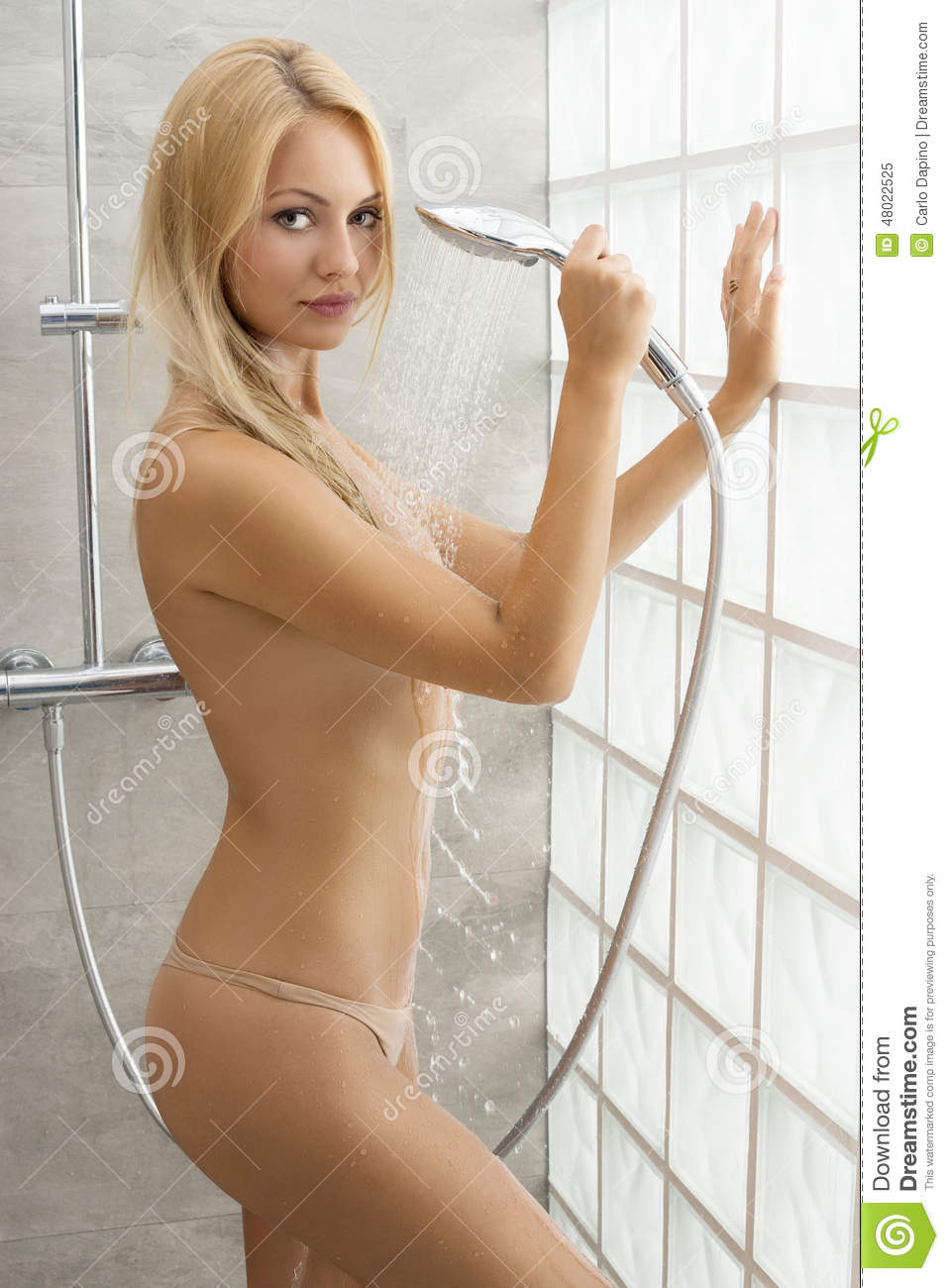 Fresh Blonde Under The Shower