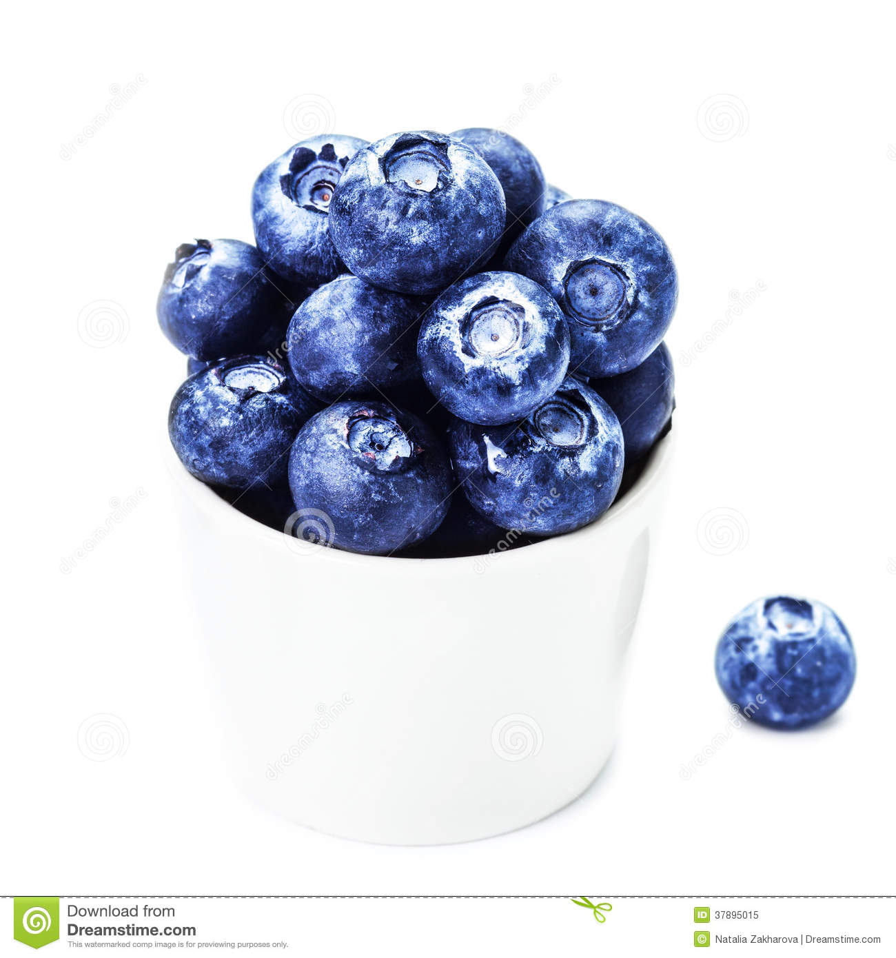 Fresh Blueberries in a bowl isolated on white background close