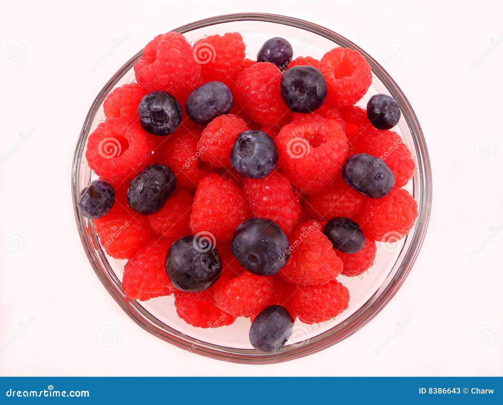 Fresh Bowl Of Raspberries And Blueberries Stock Image ...