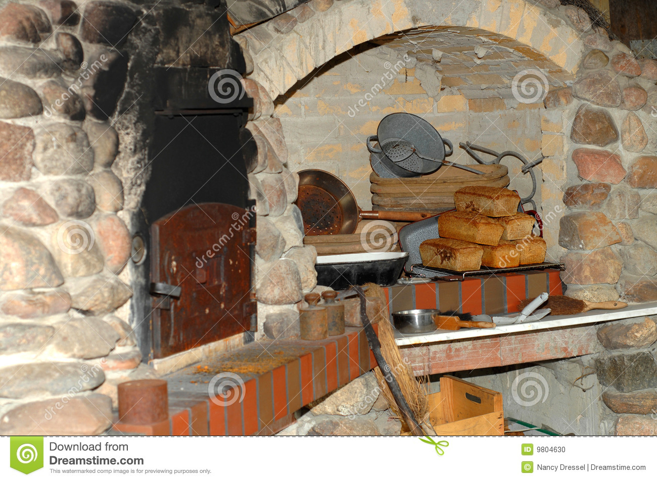Fresh Homemade Bread In An Old Traditional Bakery With The Oven And Kitchen Utensils Background