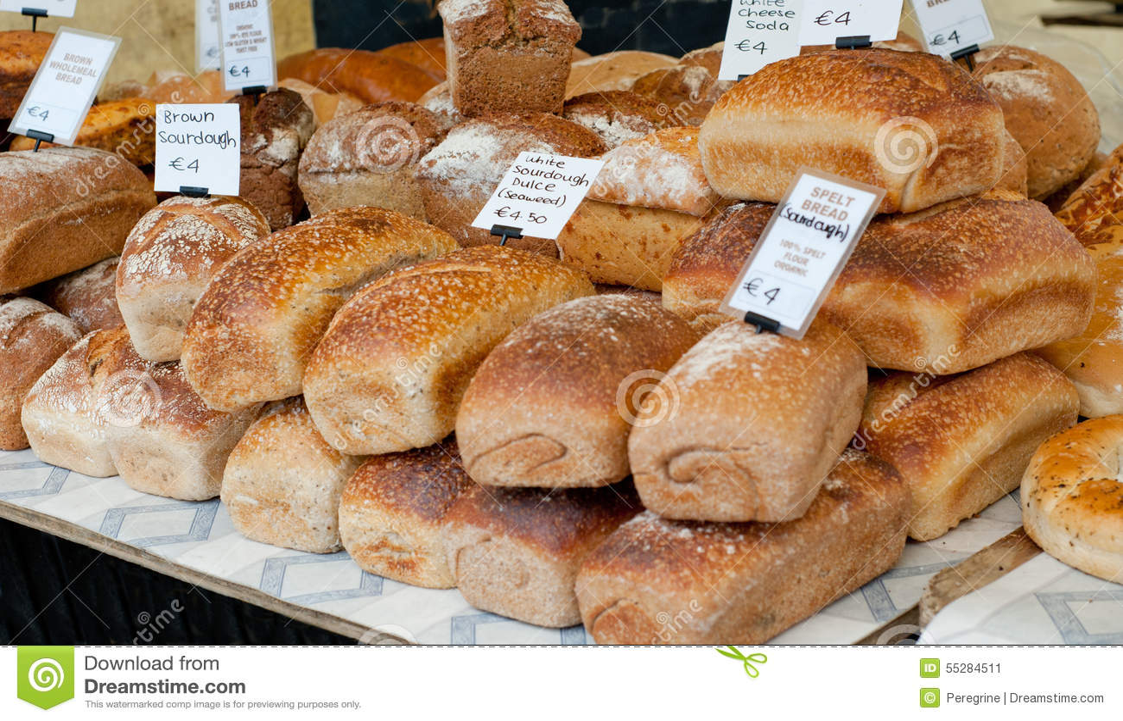 Fresh Bread On Sale At Local Farm Market Stock Image ...