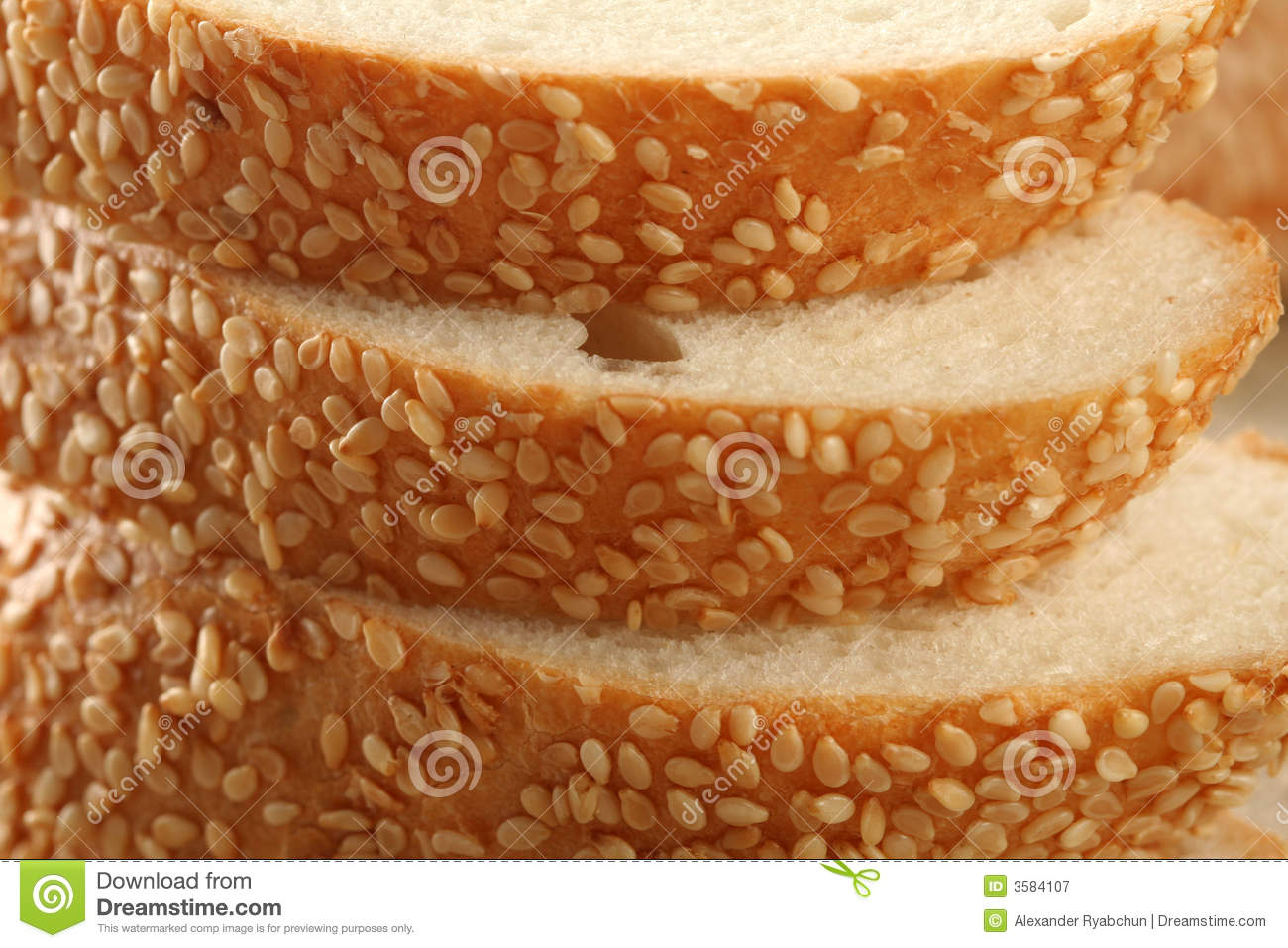Fresh bread with sesame