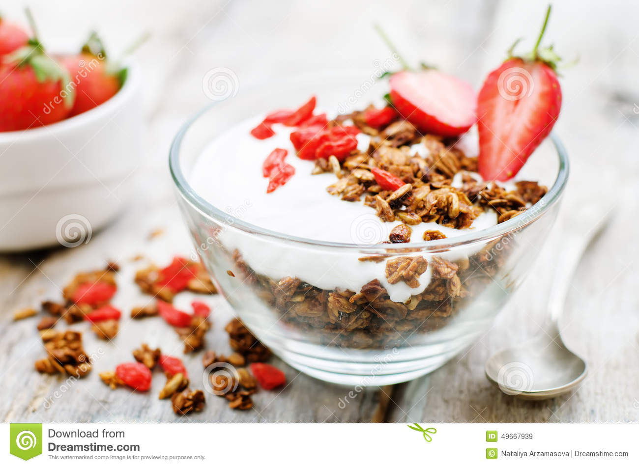 Fresh Breakfast Of Granola, Yogurt, Nuts, Goji Berries And ...