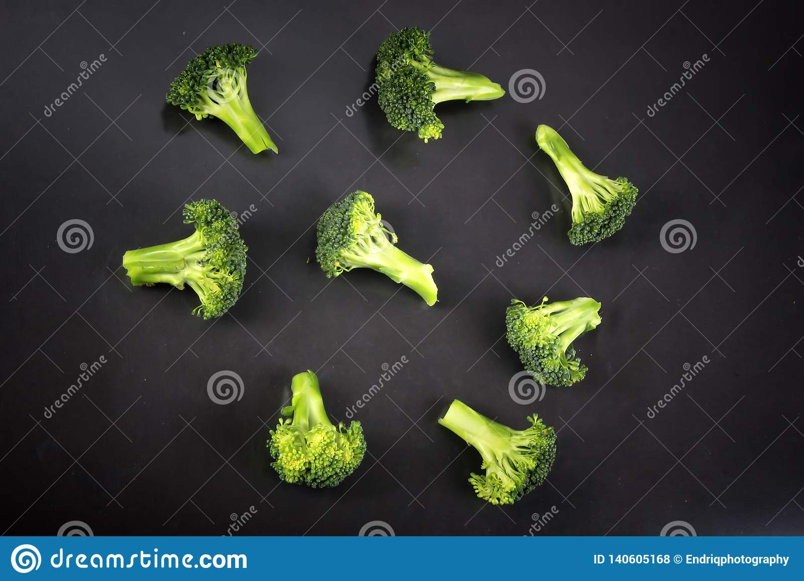 Fresh broccoli with a black background