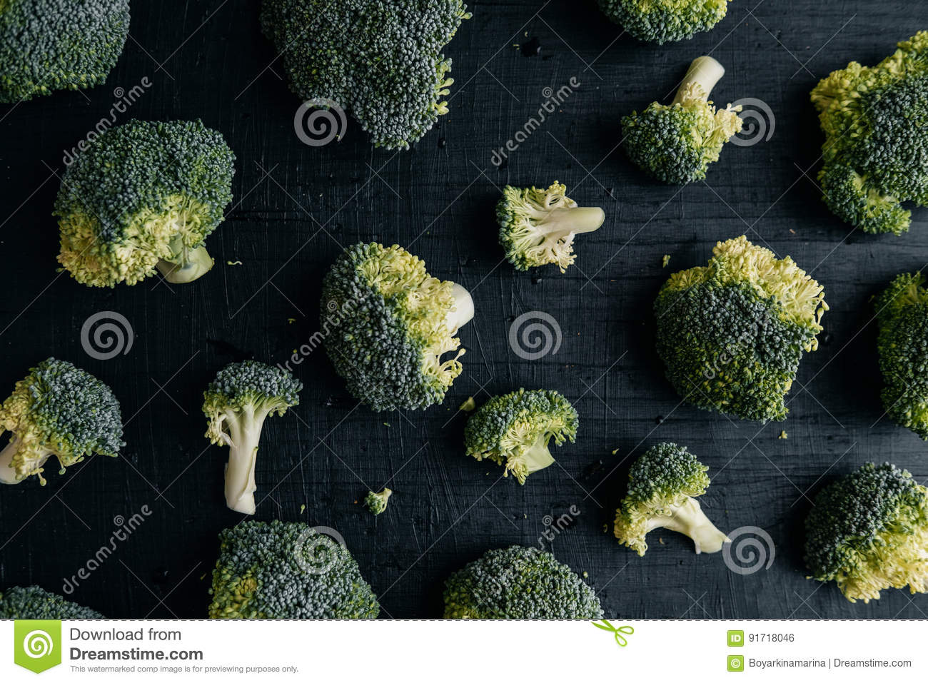 Fresh Broccoli On Black Wooden Table Top View Stock Photo Image Algea