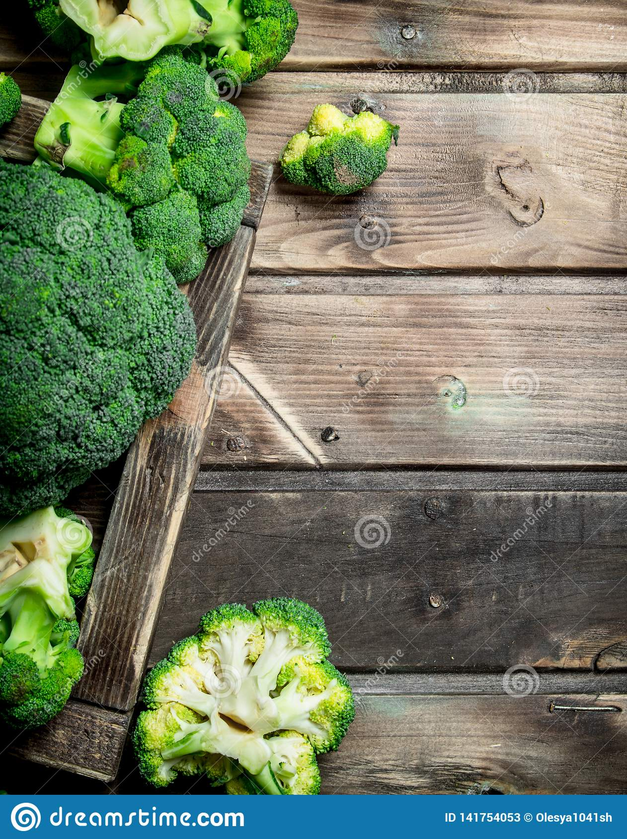 Fresh broccoli in a wooden box