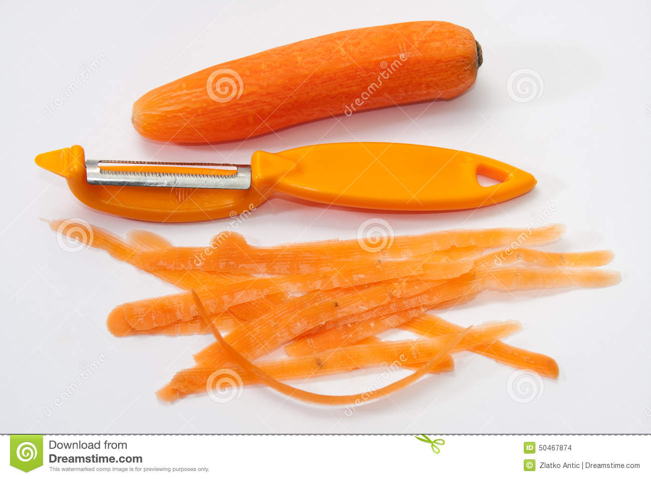 Fresh Carrots Peeled With A Knife For Peeling Stock Photo