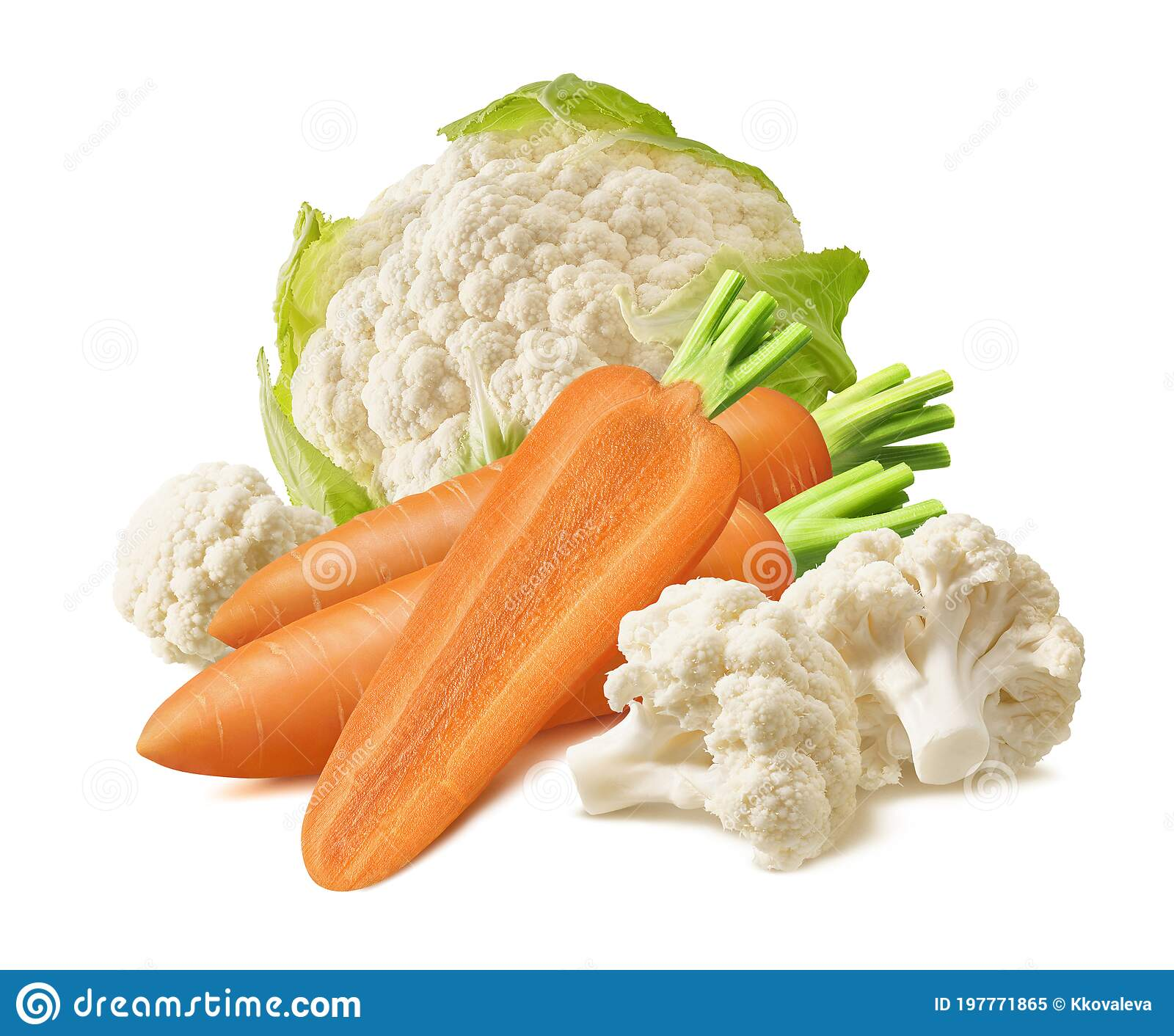 Fresh Cauliflower And Carrots Isolated On White Background Stock ...