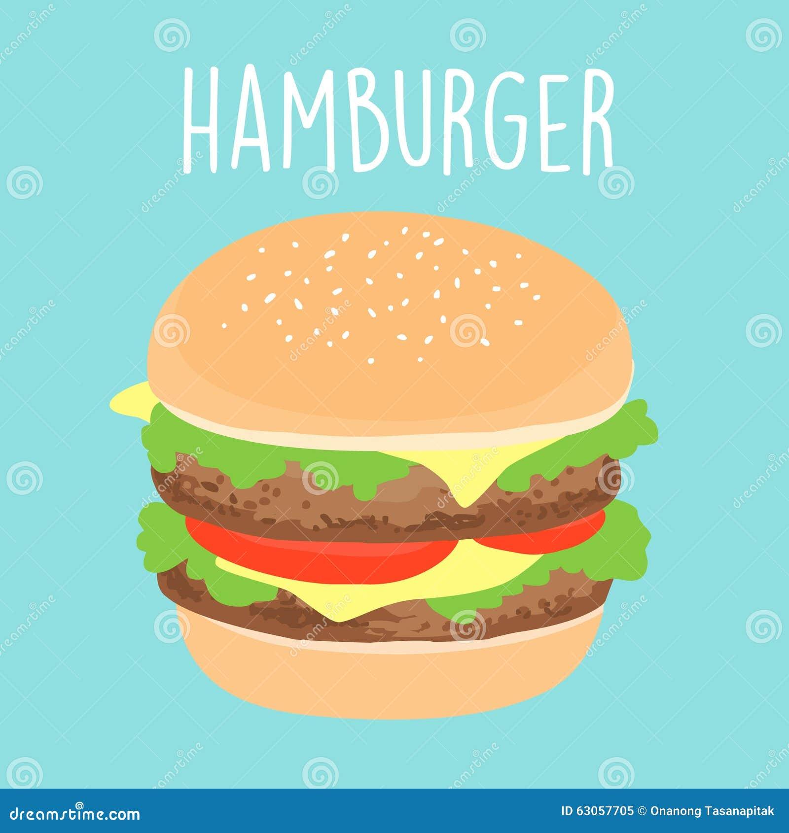 Fresh Cheese Hamburger Graphic Illustration Stock Vector