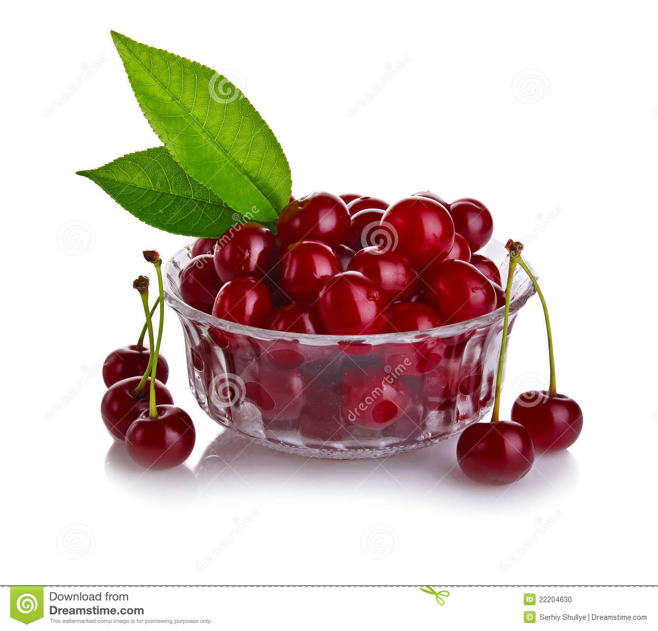 Fresh Cherry Berries With Green Leaf Isolated Stock Photo ...
