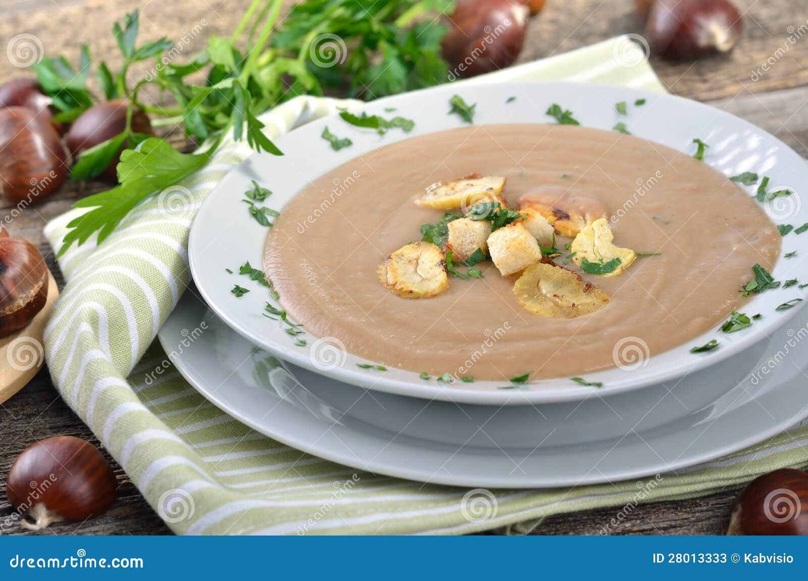 Fresh chestnut soup