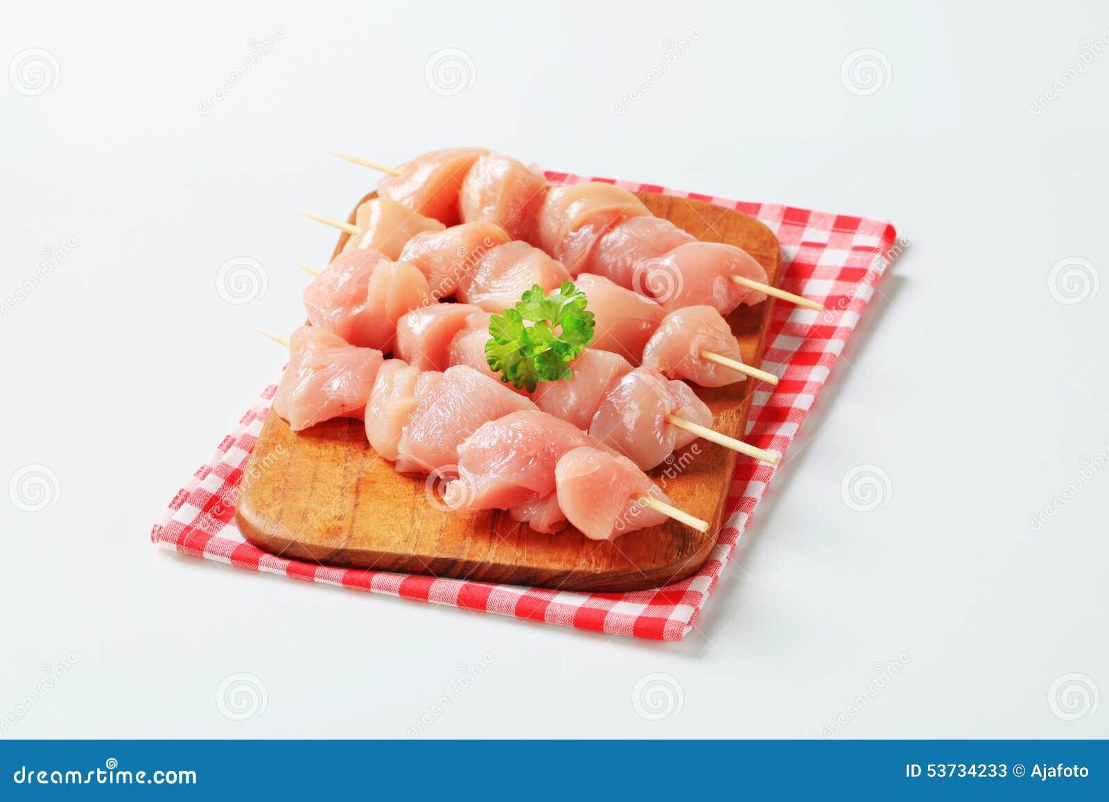 Fresh chicken skewers