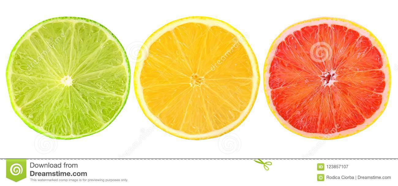 Fresh citrus fruits cut in half isolated on white