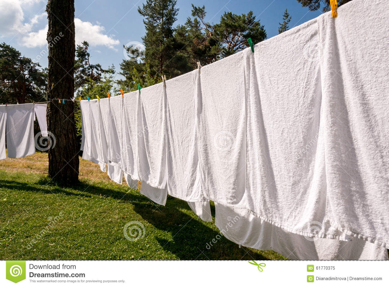 Fresh Clean White Towels Drying On Washing Line Stock