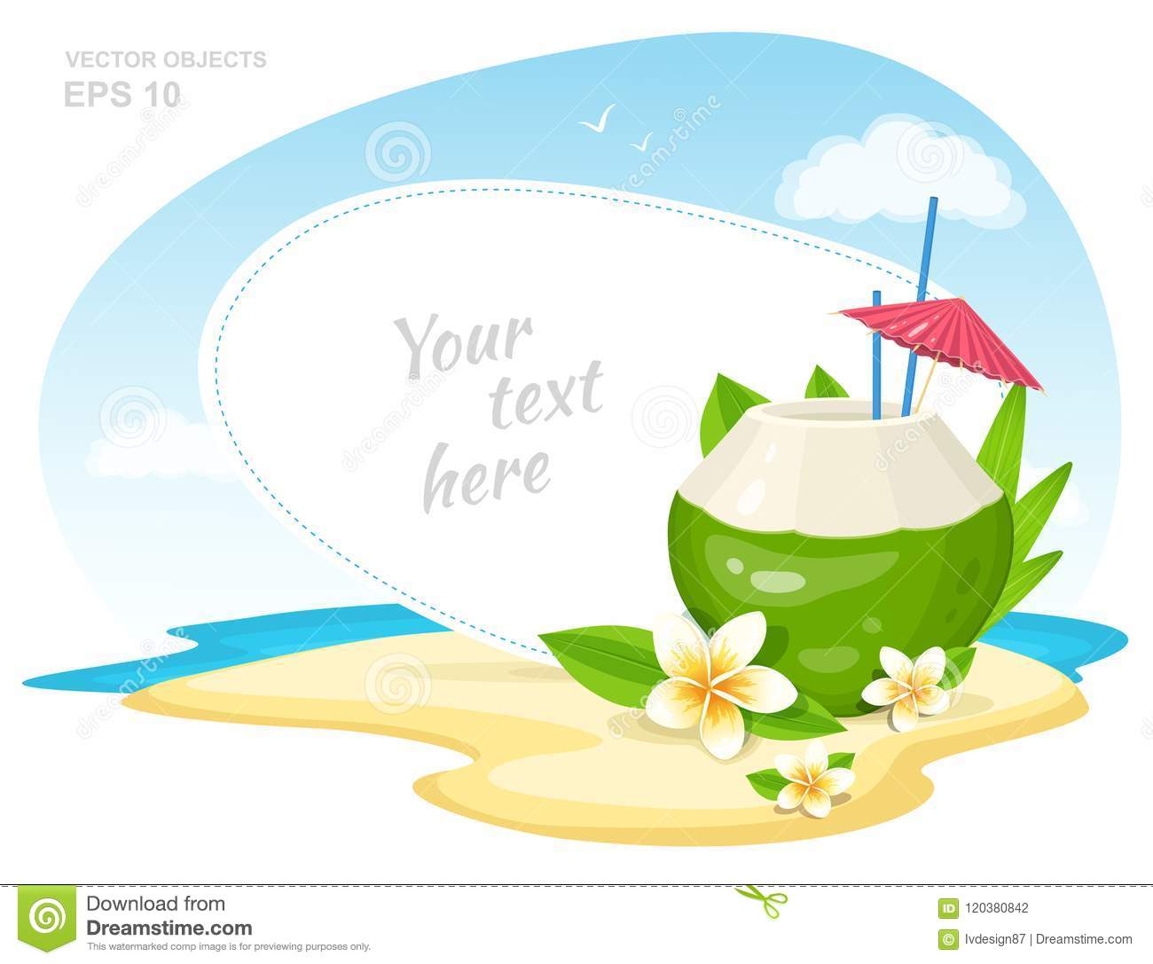 Fresh Coconut Cocktail with Plumeria Flowers, straws and Umbrella on the Island Beach. Summer Time Vacation Attribute. Vector