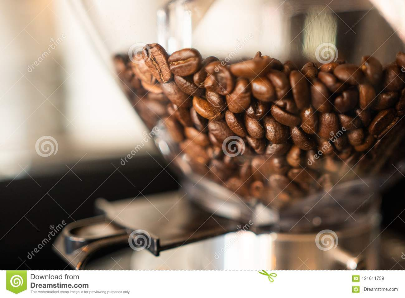 Fresh Coffee Bean Grinder Machine Stock Image Image Of Espresso