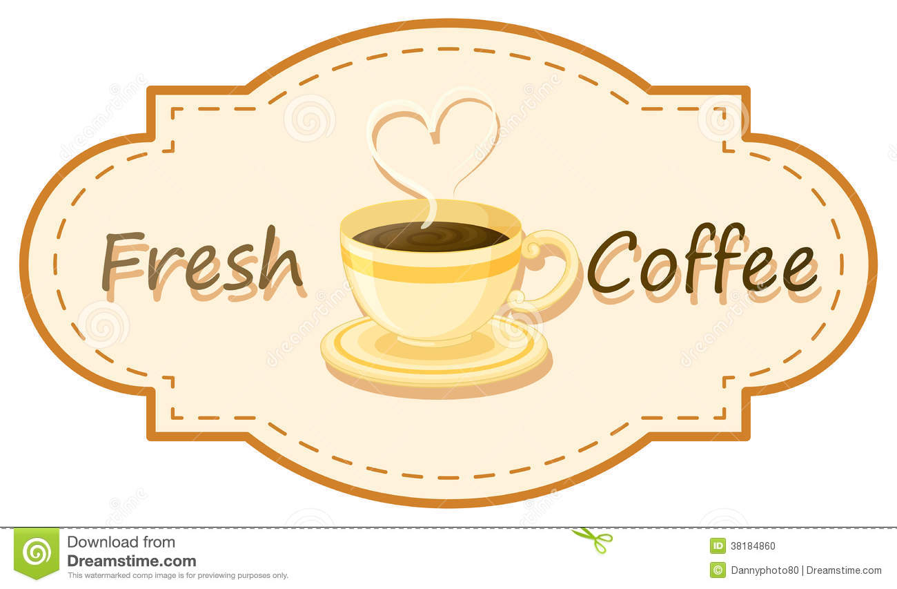 Download A Fresh Coffee Logo With Cup Of Brewed Stock Vector
