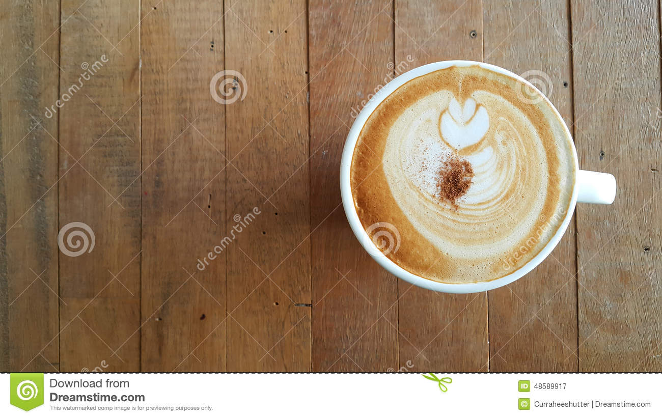 black coffee cup on old wooden table top view stock photo - image