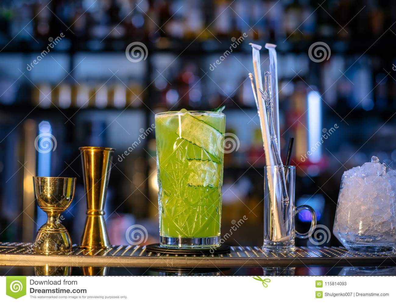 Fresh, Cold Cocktail On The Bar. Cucumber Drink With