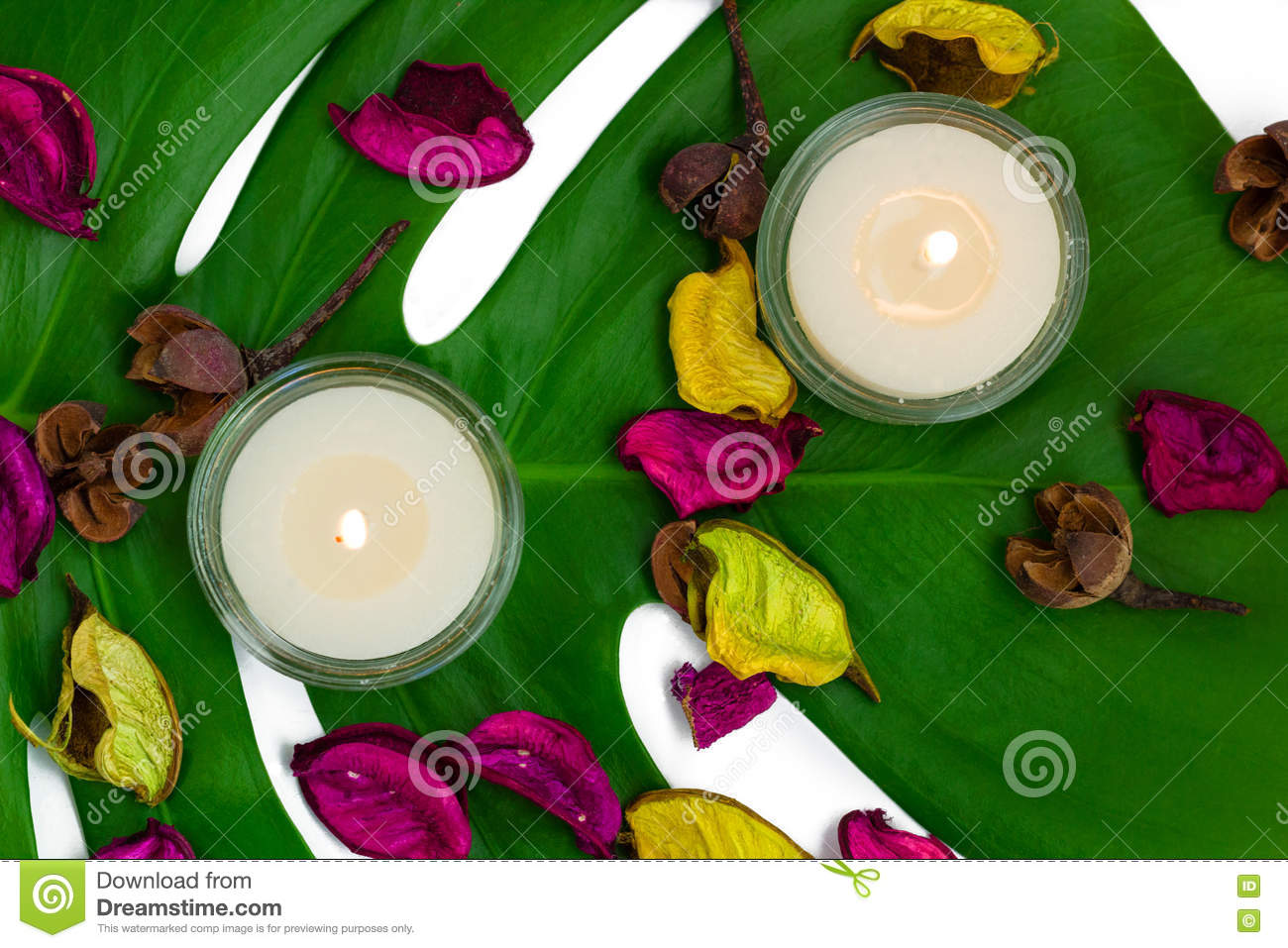 Fresh colorful composition of two burning candles, fragrant potpourri on monstera leaf