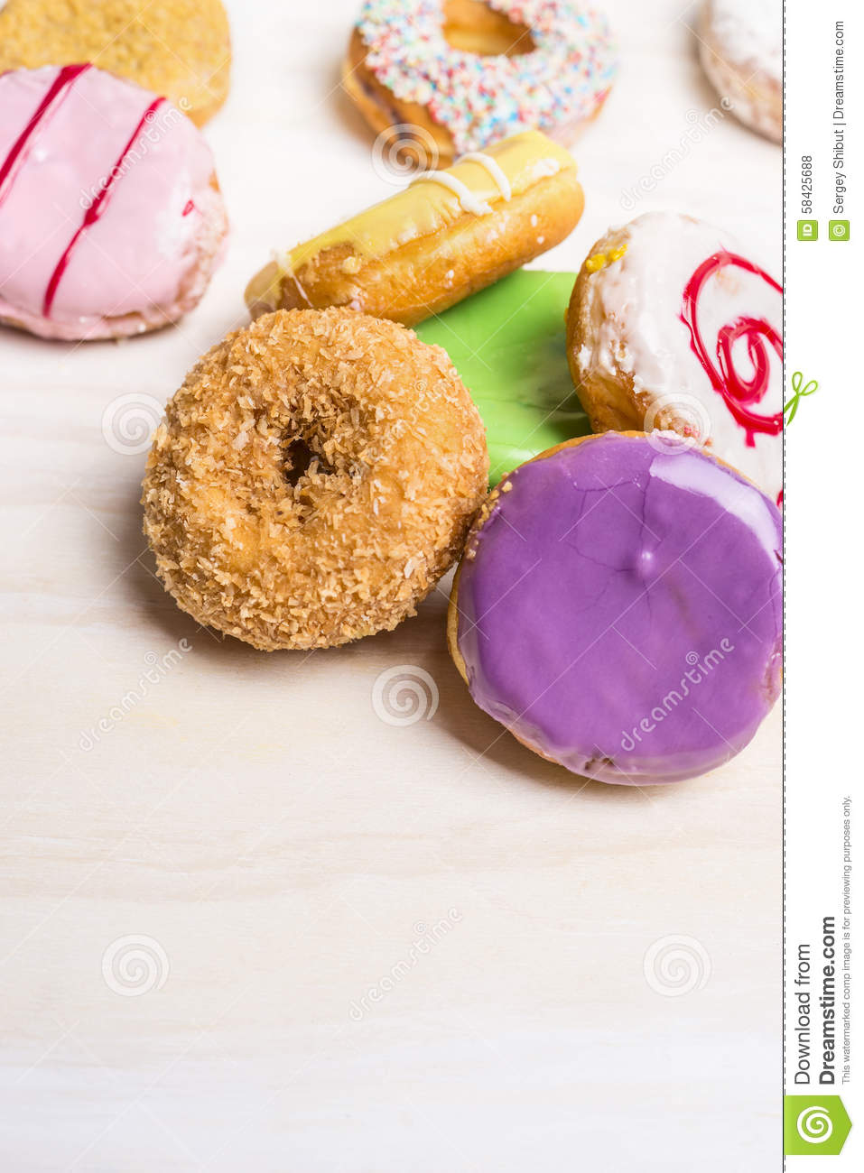 close up with donuts in sweet shop top view space for text stock photo 91559508. Black Bedroom Furniture Sets. Home Design Ideas