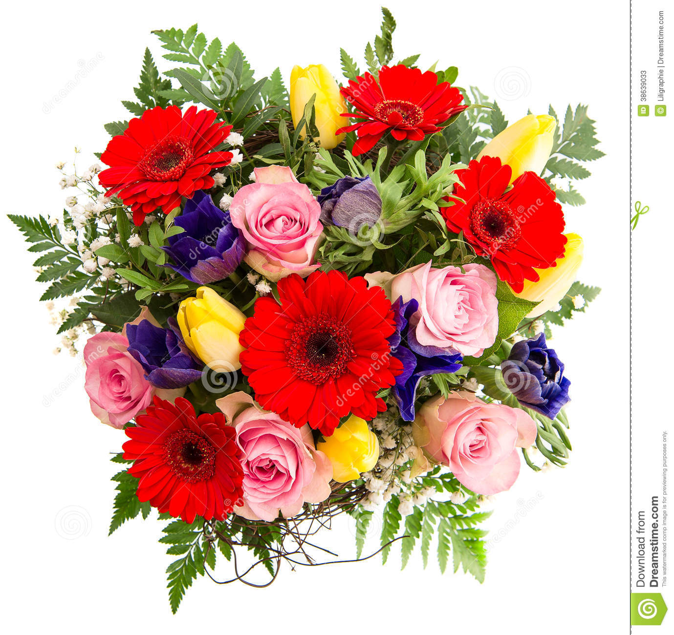 Muted Blue And Floral Red: Fresh Colorful Spring Flowers Bouquet Stock Photos