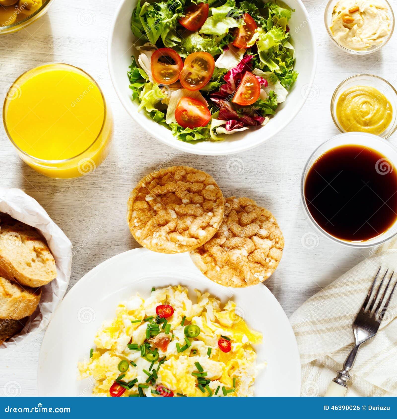 Fresh Continental Breakfast Healthy Food Stock Photo