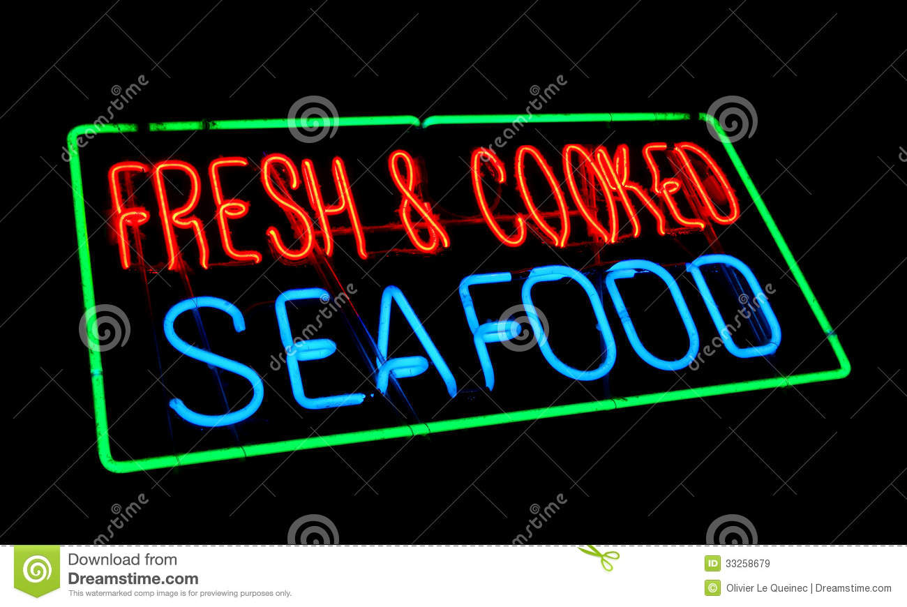 Fresh and cooked seafood old neon light store sign royalty for Fish neon sign