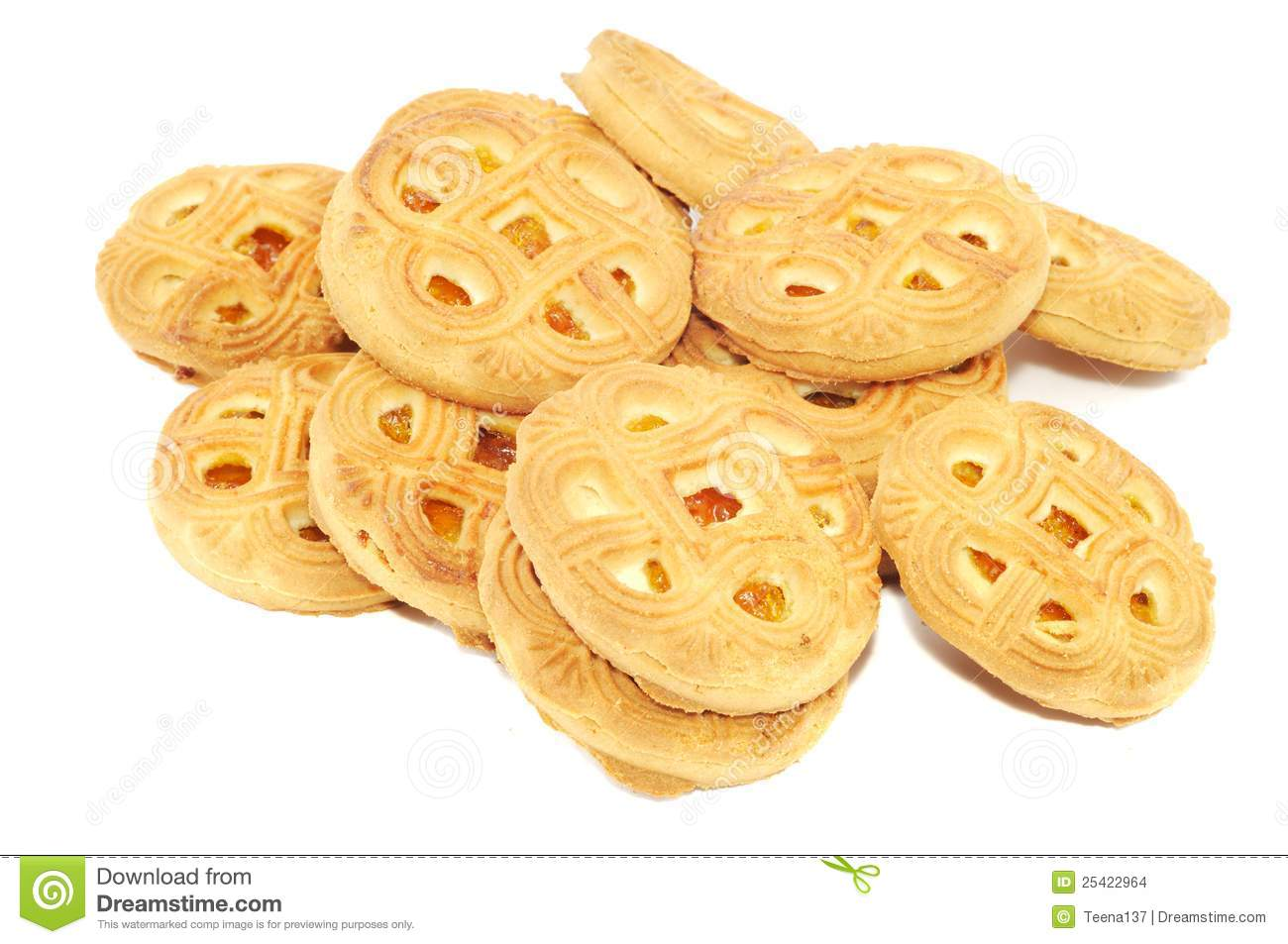 fresh cookies on a white background close up