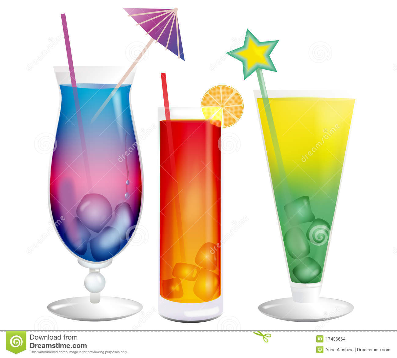 fresh cooling exotic cocktails with ice cubes stock images
