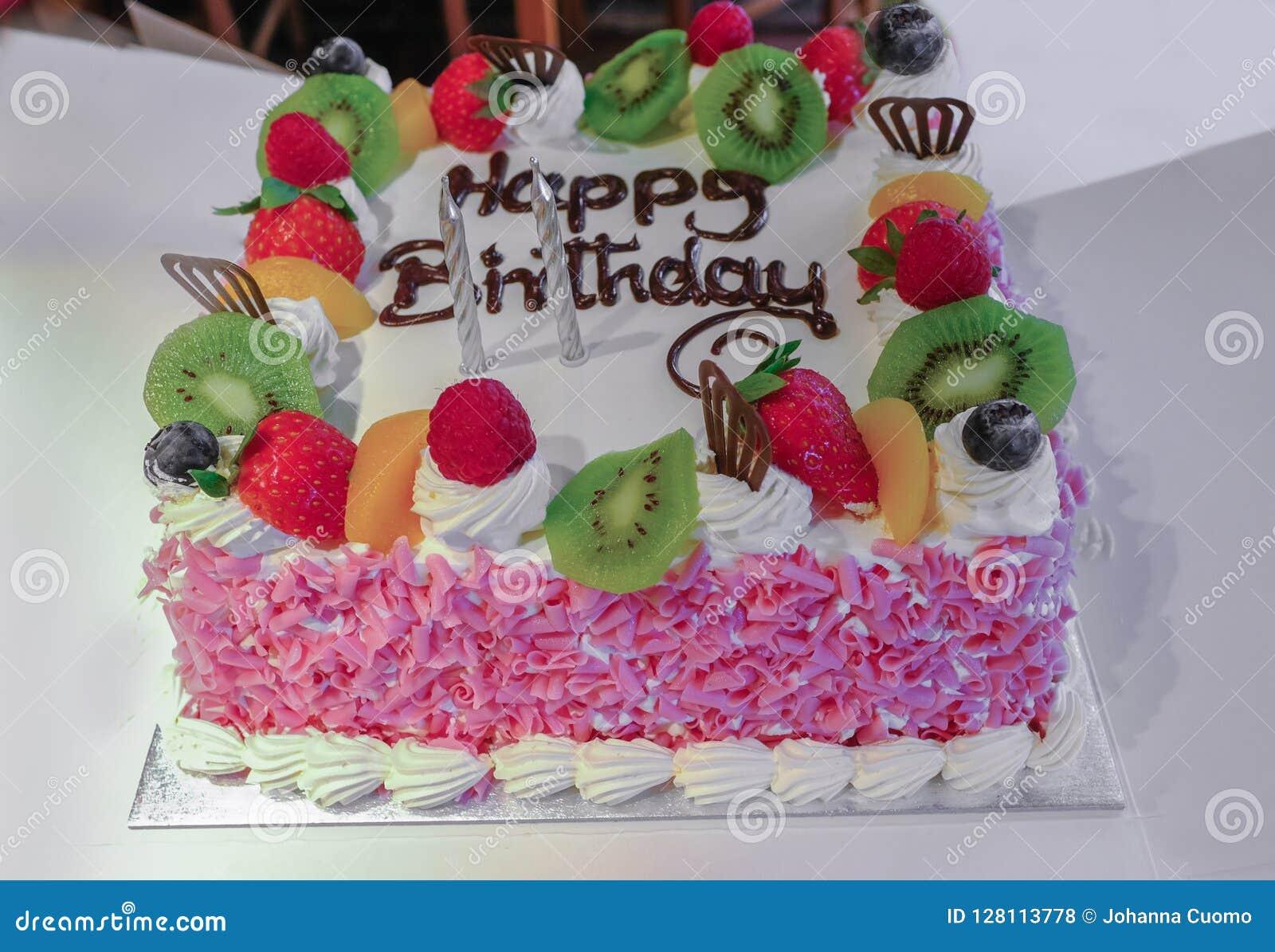 Fine Fresh Cream And Fruit Birthday Cake Stock Photo Image Of Flakes Personalised Birthday Cards Epsylily Jamesorg