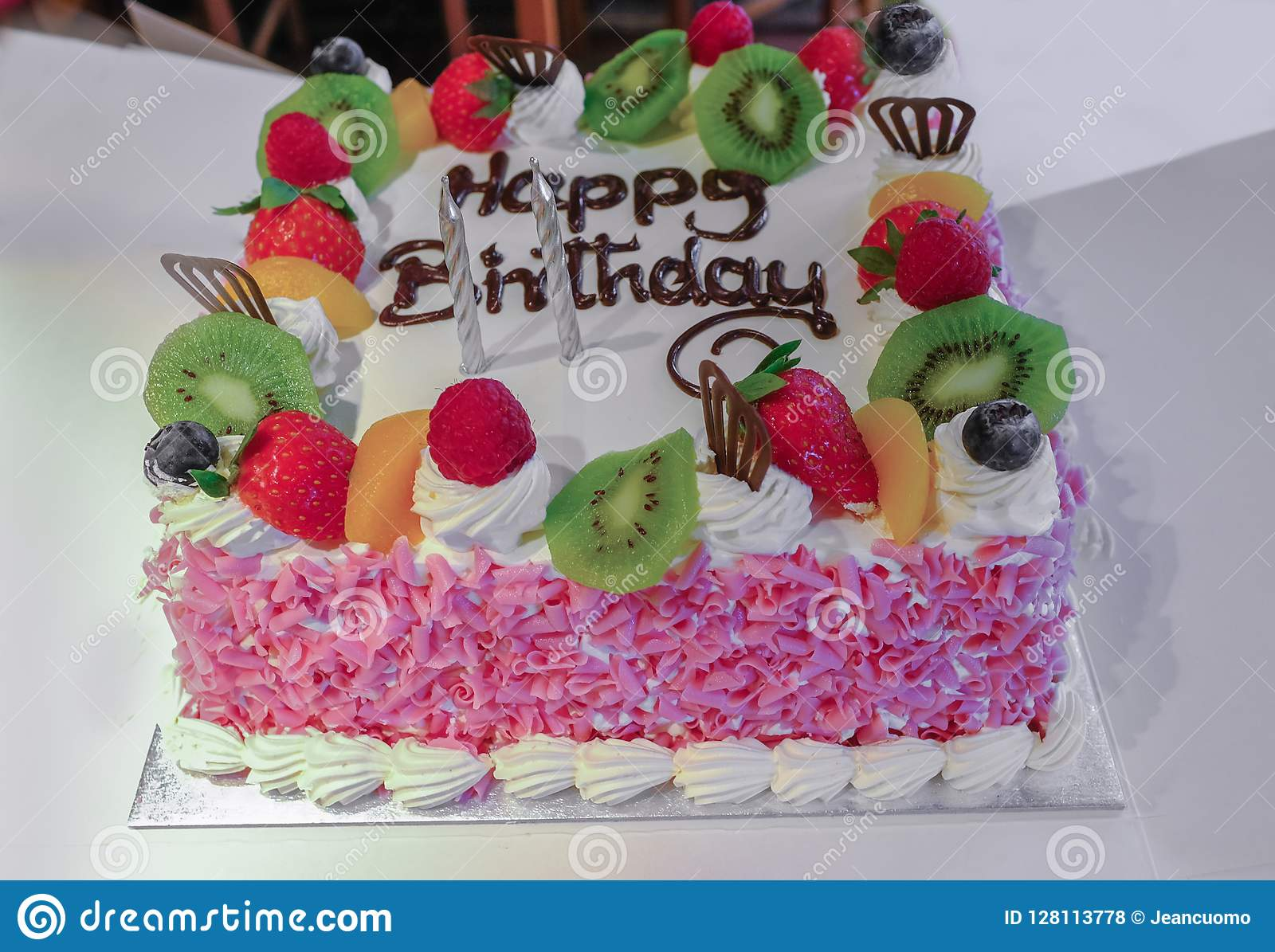 Incredible Fresh Cream And Fruit Birthday Cake Stock Photo Image Of Flakes Personalised Birthday Cards Veneteletsinfo