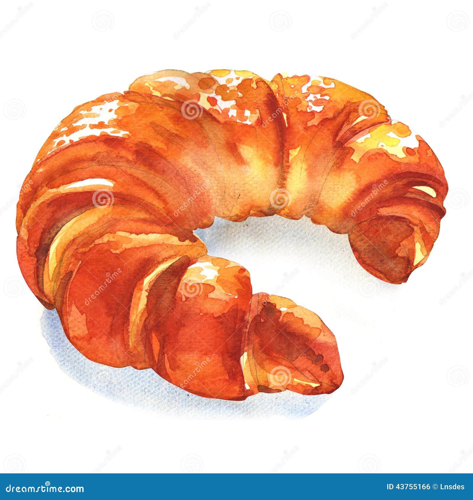 Fresh Croissant On White Background Stock Illustration
