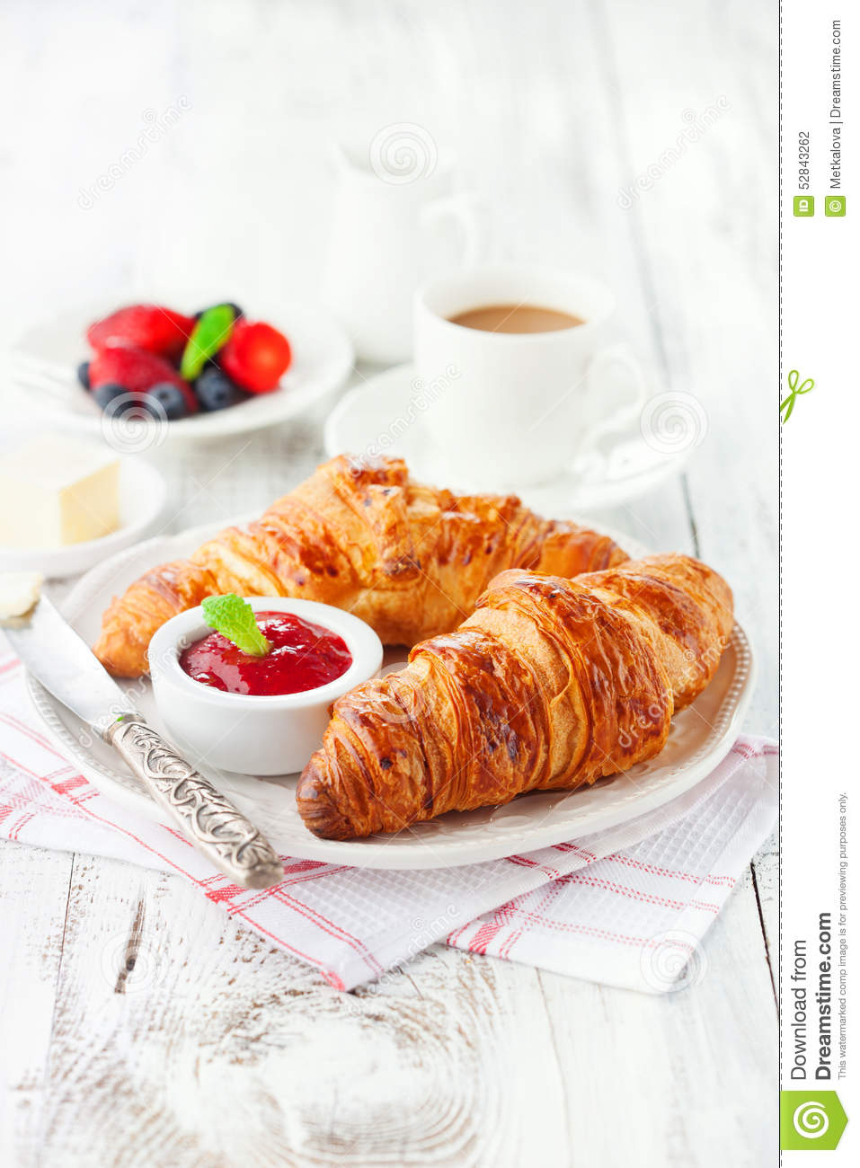 Fresh croissants with jam stock photo. Image of food ...