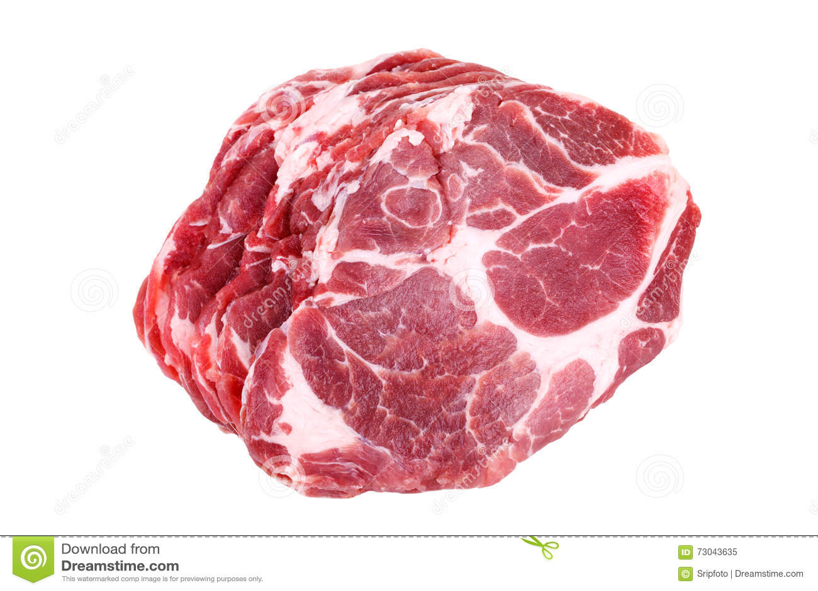 Fresh crude pork neck meat steak isolated on white background