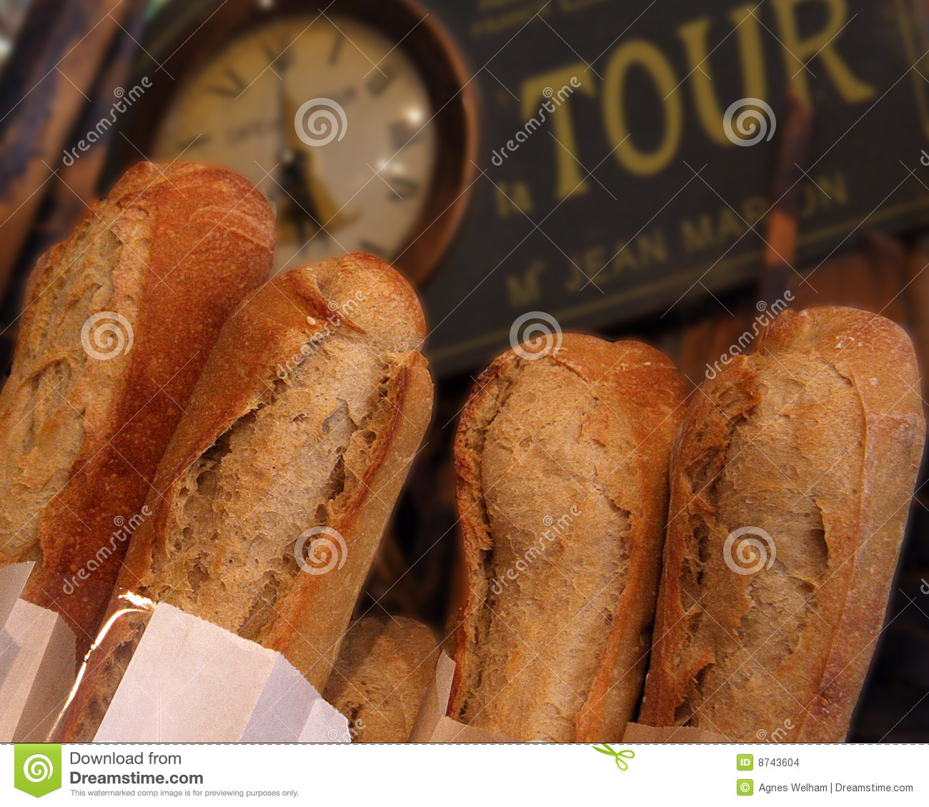 Fresh Crusty Baguette in a French Cafe.