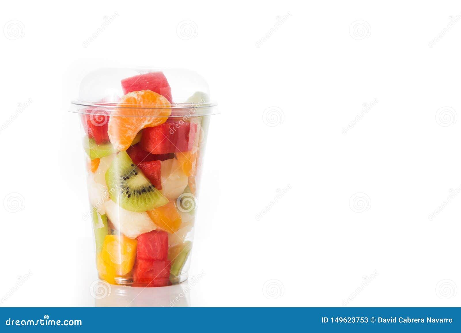 Fresh cut fruit in a plastic cup