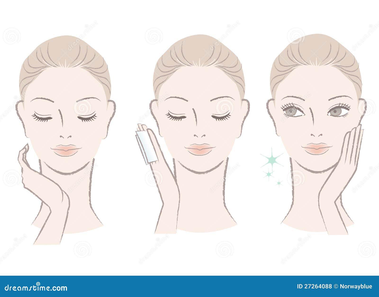 Fresh cute woman applying facial lotion