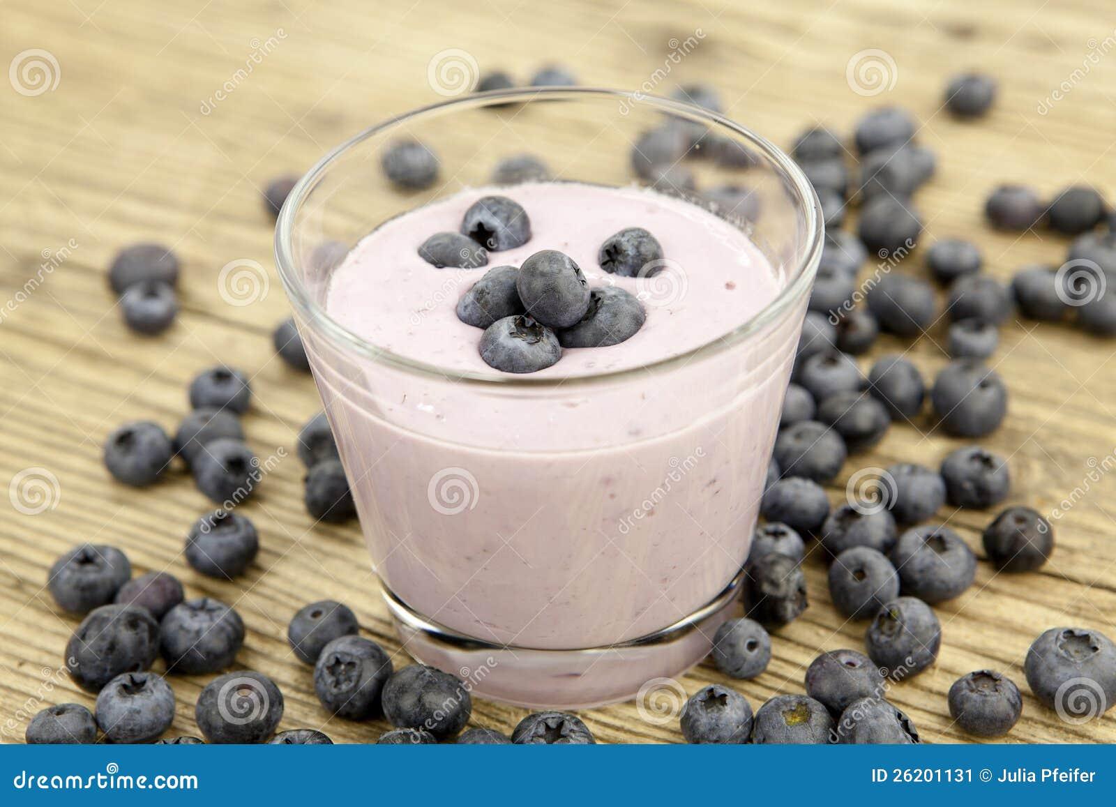 Fresh delicious blueberry yoghurt shake dessert