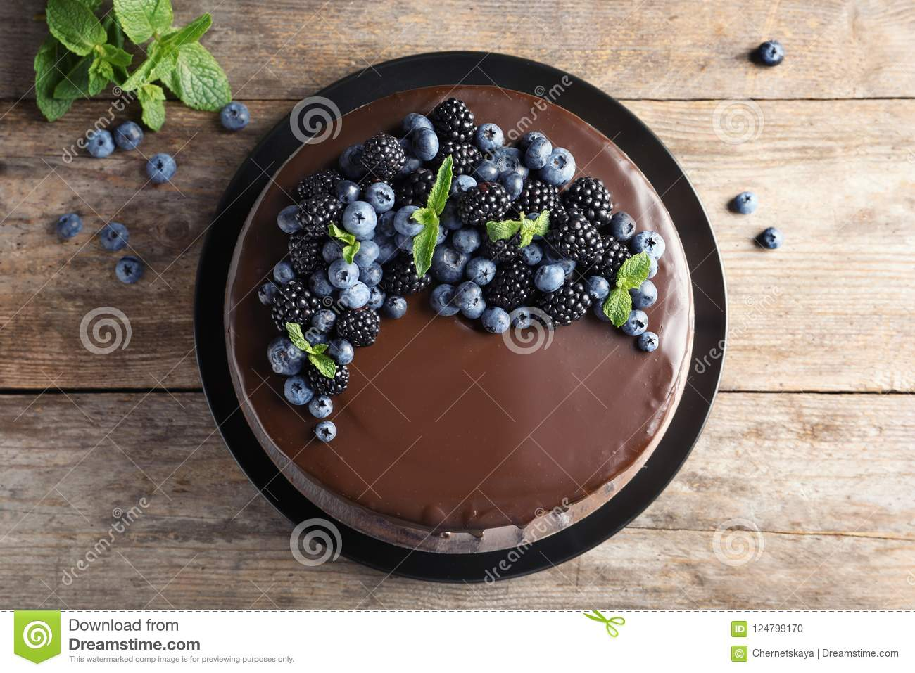 Fresh delicious homemade chocolate cake with berrie