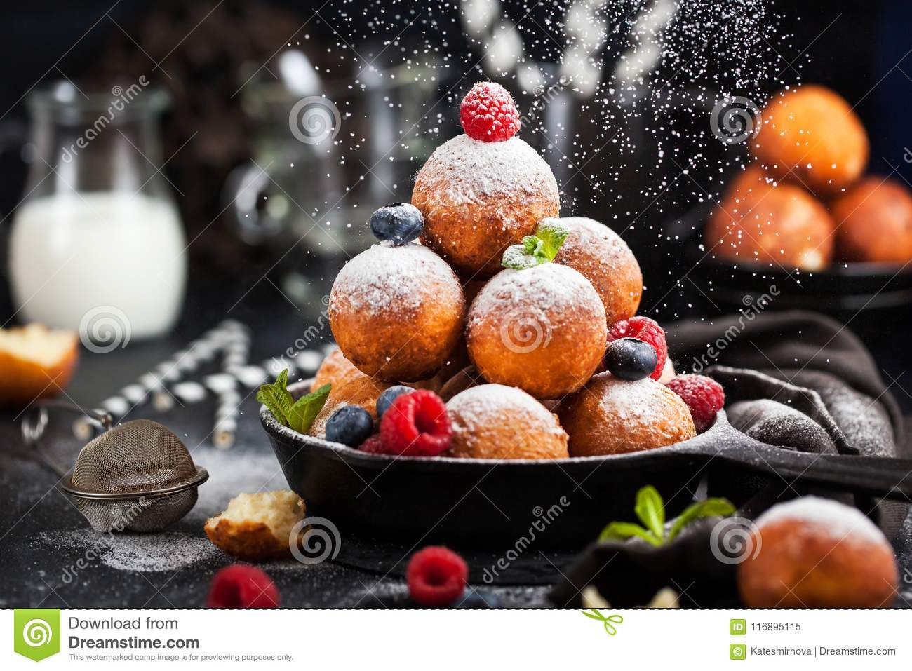Fresh Delicious Homemade Cottage Cheese Ball Donuts With ...