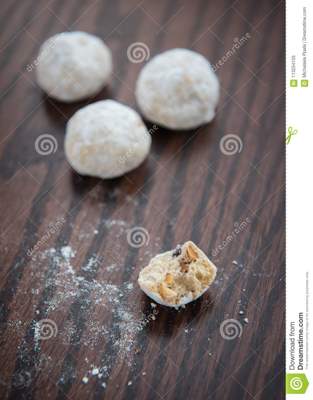 Christmas Butter Cookies With White Sugar Stock Image Image Of