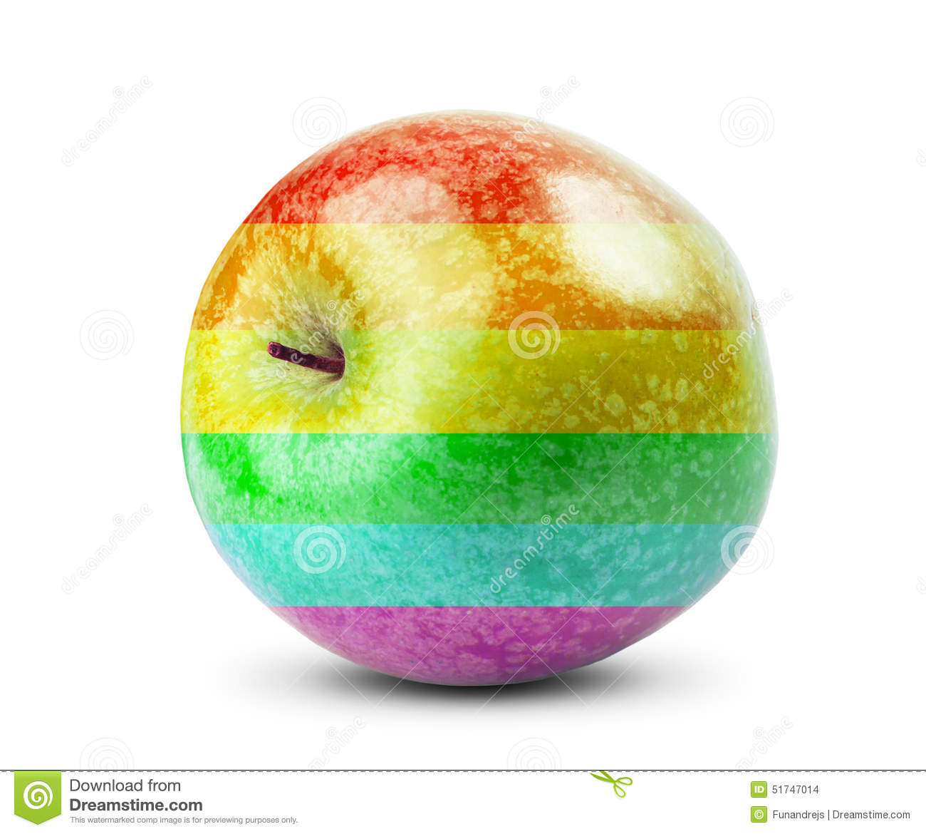 Fresh Diet Apple Fruit With Colors Of The Rainbow Stock ...