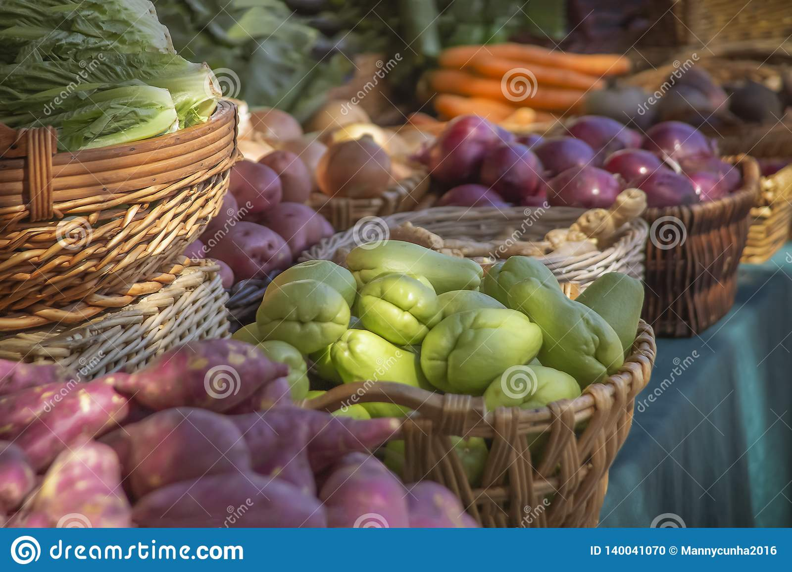 Fresh display of produce at the Farmers Market