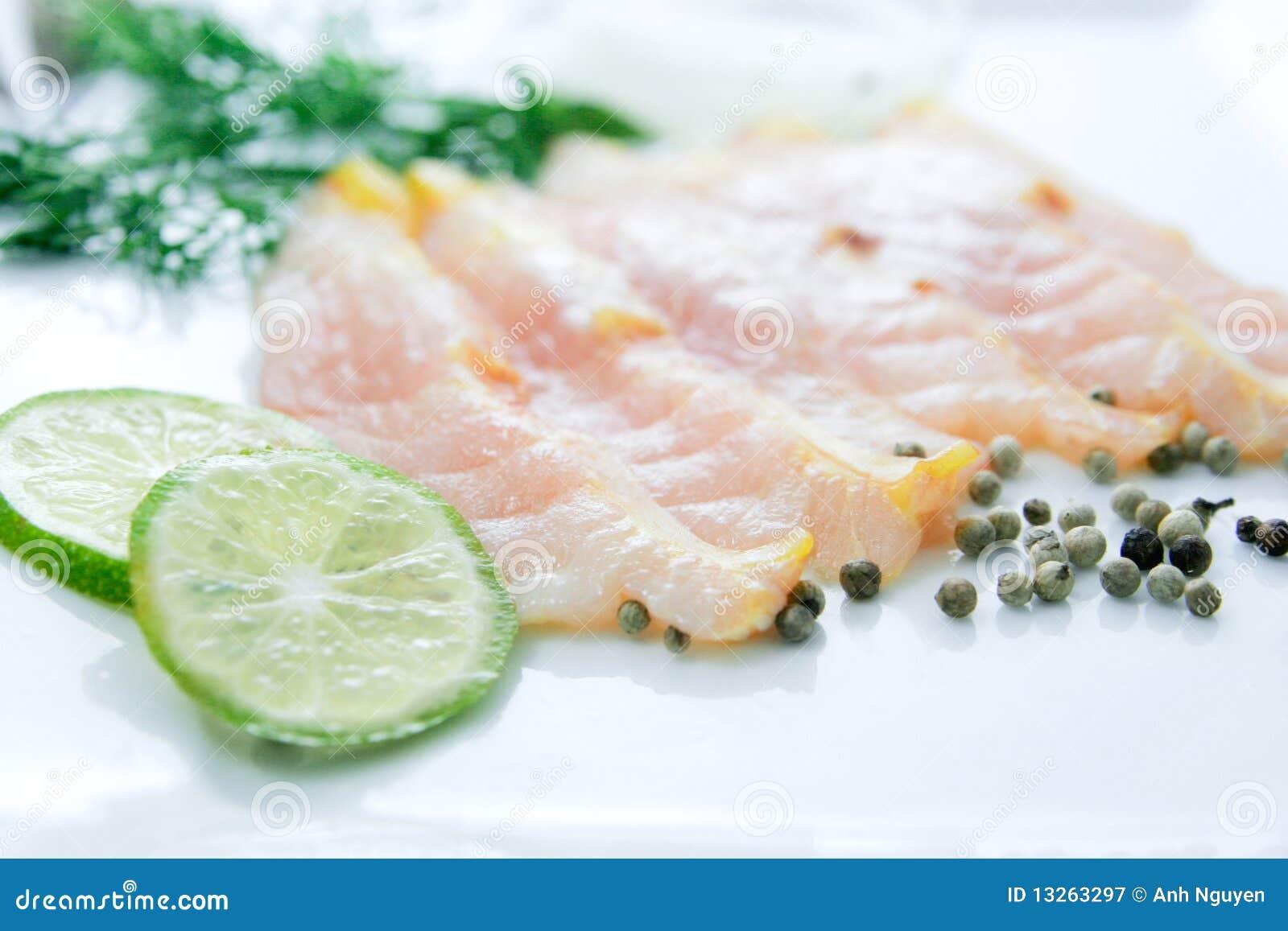 Fresh Fish Fillet Sliced On White Background Stock Image